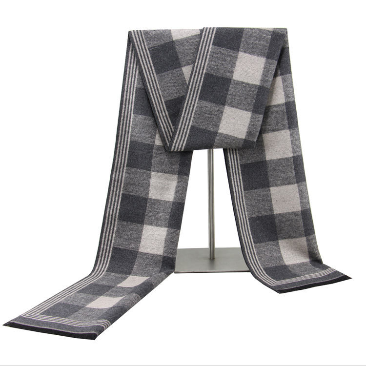 New Style MEN'S Scarf Winter Warm Thick Bordered Design Plaid Scarf Men's Korean-style Fashion Casual Cotton Scarf