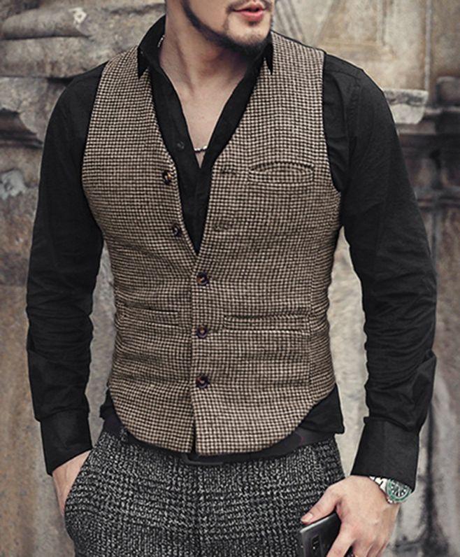 Men's Suit Vest Wedding Slim Fit Suit for Men Gilet Homme Vintage Chaleco Casual Hombre Elegant Groom Suit Waistcoats Custom
