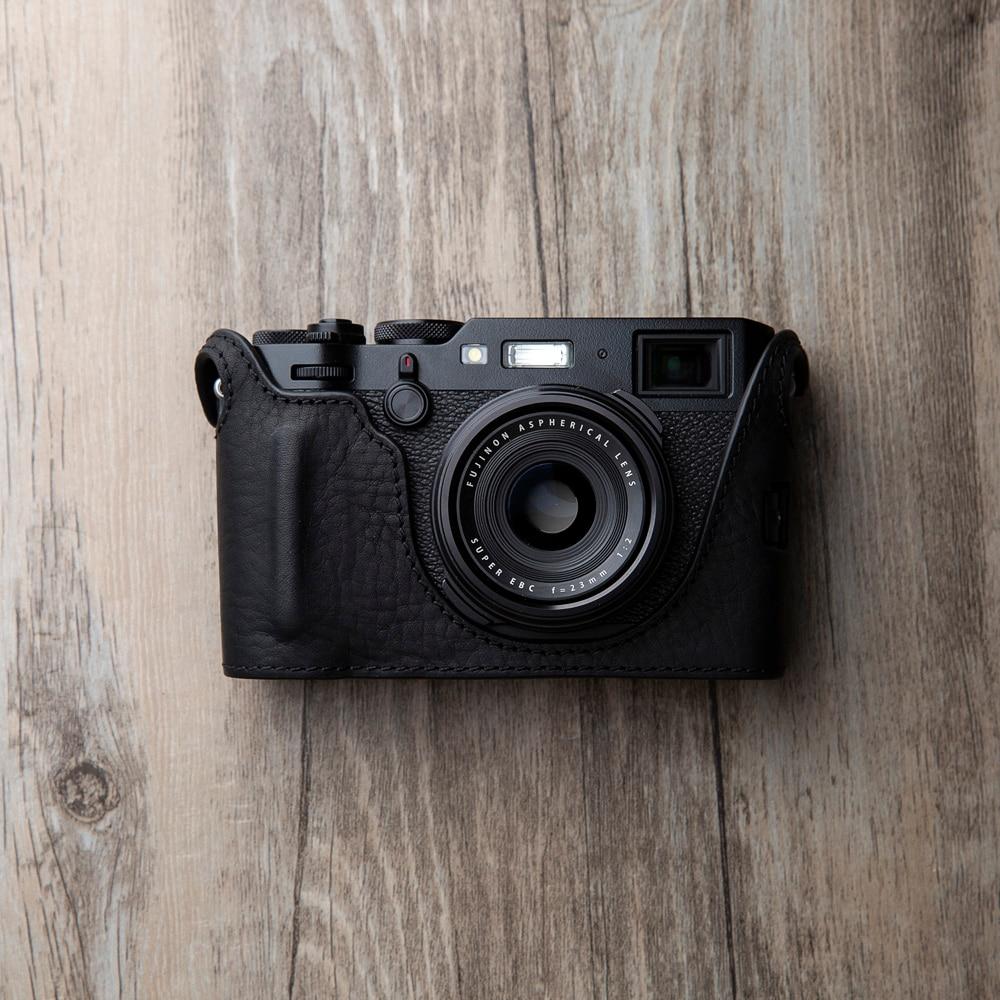 Handmade Genuine Real Leather Full Camera Case Bag Cover for FUJIFILM X100V Black Color