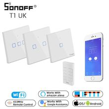 SONOFF RM433/TX/T1 UK 8 Keys 433mhz Remote Control RF Wireless Light Wall Switch Touch Panel Wifi 1/2/3 Gang Google Home Alexa sonoff t1 2gang 2way wifi wireless rf app touch control wall light timing switch uk type smart home automation for alexa nest