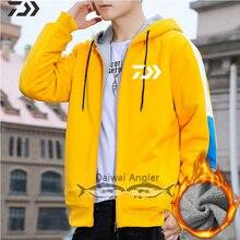 Новинка Daiwa Рыбацкая рубашка Весенняя термальная уличная Мужская дышащая Лоскутная одежда с капюшоном для рыбалки одежда на молнии с завязками