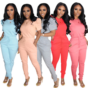 JRRY Women Tracksuit Two Pieces Short Sleeve O Neck Top Pockets Sashes Long Pants 2 Pieces Set Outfit Casual Ladies Outdoor Wear wuhe women fashion o neck short sleeve long swing top and slim pants summer casual two pieces sets playsuits combinaison femme