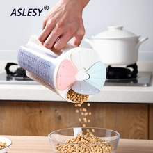 Kitchen Grain Storage Box Transparent Plastic Compartment Barrel Sealed Cereal Food Containers Jar Household Accessories