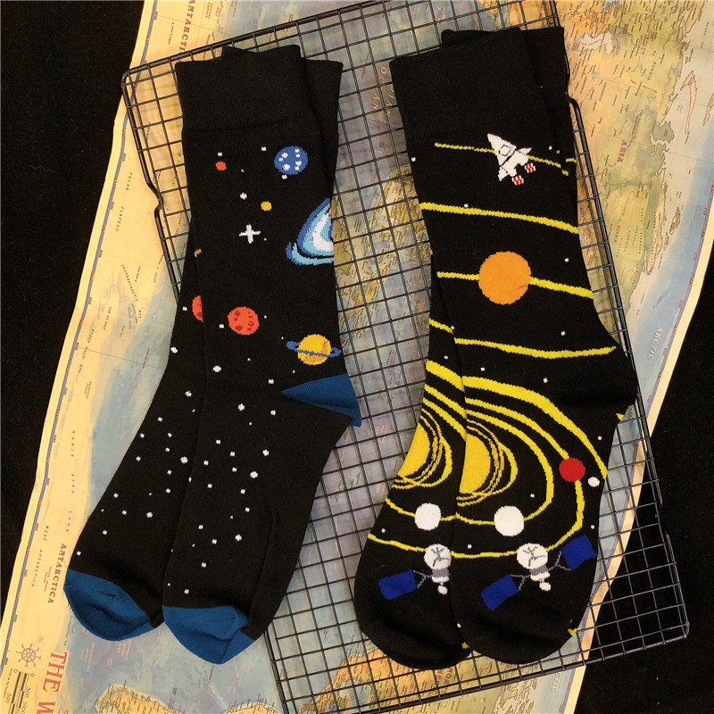 Adult Crew Cotton Socks Black Hole Holes Big Bang Solar System Planet INNCH OFFICIAL Original Design New Pop Top Street Fashion