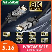 Navceker 2020 48Gbps 2.1 HDMI 케이블 8K @ 60Hz HDMI 2.1 케이블 8K HDMI 케이블 2.1 HDR 4K HDMI 2.1 카보 Apple TV 용 Samsung QLED TV