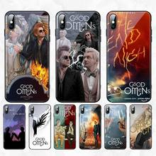 PENGHUWAN good omens Customer High Quality Phone Case Tempered Glass For iPhone 11 Pro XR XS MAX 8 X 7 6S 6 Plus SE 2020 case pratchett t good omens