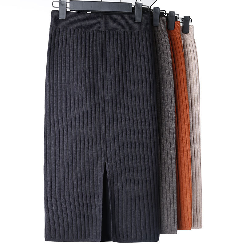 Elegant Midi Pencil Skirts High Waist Stretch Band Ribbed Knitted Skirt Spring And Fall Women Elastic Waist Warm Split Skirt