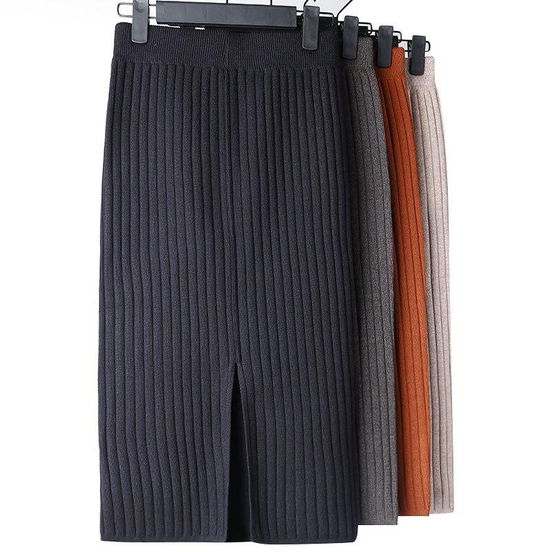 Elegant Midi Pencil Skirts High Waist Stretch Band Ribbed Knitted Skirt Spring And Fall Women Elastic Waist Warm Split Skirt