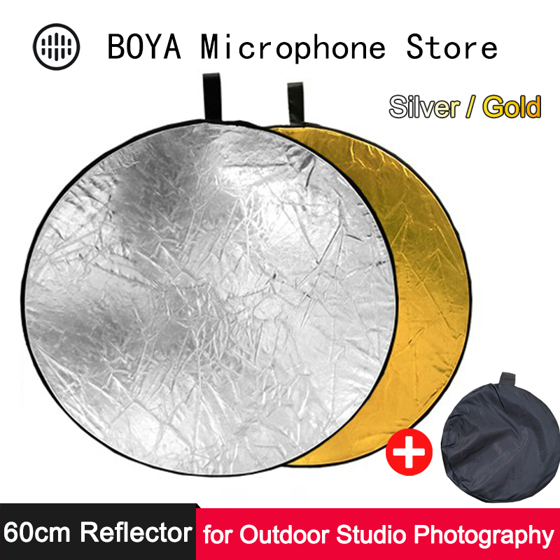 60cm Collapsible Reflector Portable Round Eye Light Gold Silver Diffuser For Outdoor Studio Photo Vlog Soft Photography Lighting