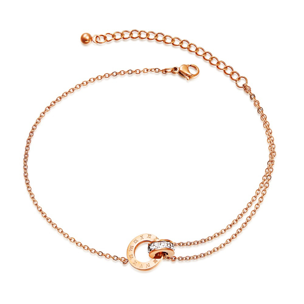 Stainless-Steel-Round-CZ-Anklets-For-Women-Charm-Rose-Gold-Ladies-girl-summer-Foot-Jewelry-Gift