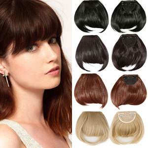 S-noilite 15Colors Real thick 35g Natural Bang False Hair black brown auburn red Clip In on Bangs Synthetic Hair Fringe(China)