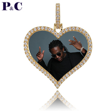 Custom Made Photo Love Medallions Pendant Necklace 4mm Tennis Chain Zircon Men's Hip hop Jewelry