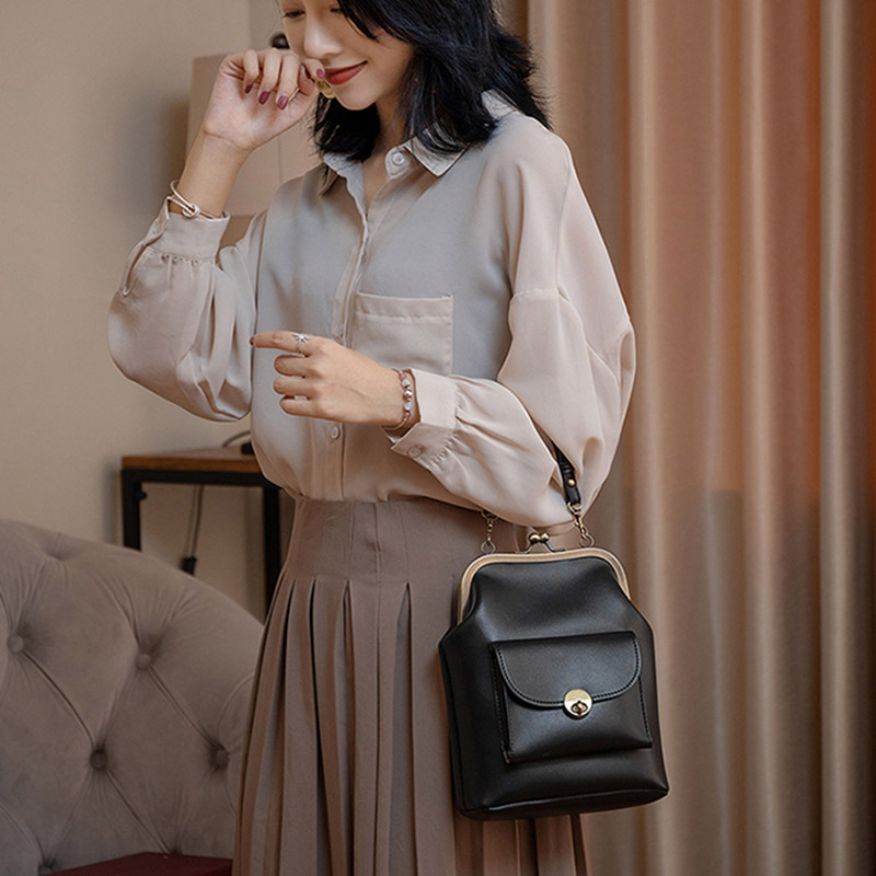 Vintage Metal Buckle Clip Bags Women PU Leather Shoulder Crossbody Bag Waterproof Design Ladies Handbags Purse Mini Clutch Femal
