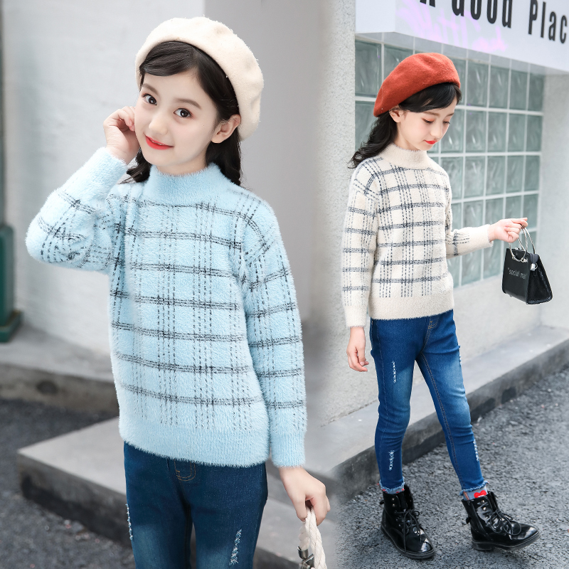 Filles chandail 2018 nouveau automne hiver tricoté pull à manches longues de haute qualité plaid chandails enfants vêtements pour 3 4 5 8 9 Y