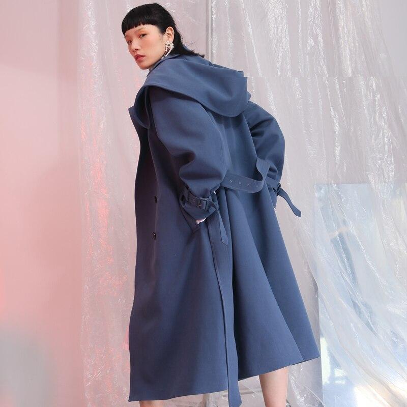 2019 grande taille femmes coupe-vent à capuche Cape femme vêtements Long manteau lâche grande taille Outwear femme veste