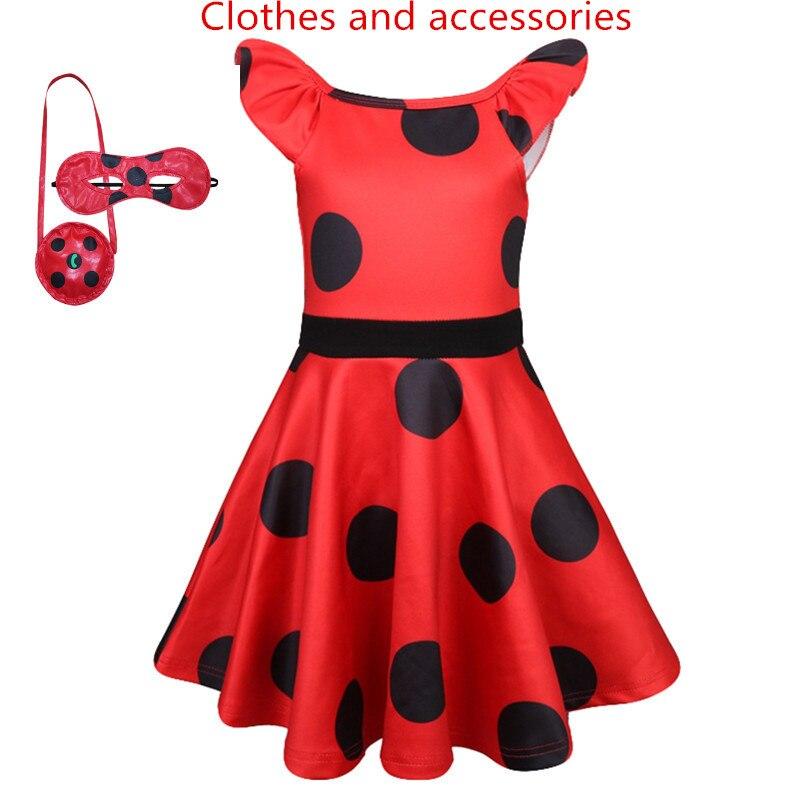 Ladybug Girl Child Skirt Anime Movie Kids Fancy Dress Cosplay Party Game Halloween Carnival Costume