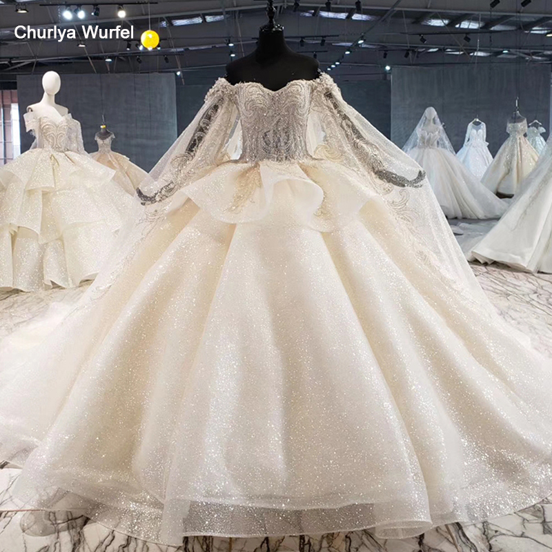 HTL1055 Luxury Ball Wedding Dress Plus Size Illusion Bead Sequined Lace Long Sleeve Wedding Gown With Cape Vestido De Casamento