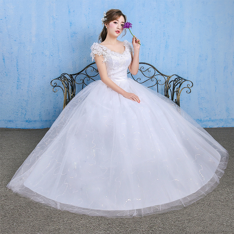 2019 Hot Sale Sweetheart Dress 2020 New Bride Wedding Korean Style Show Thin One Shoulder Tail Two Shoulders Spring And Summer