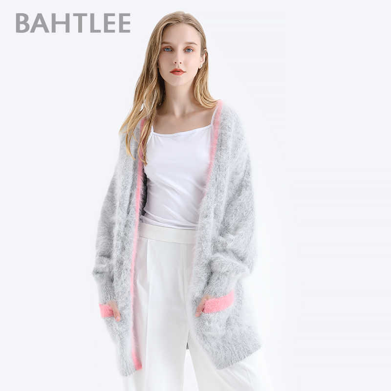 BAHTLEE Winter Women Knitted Cardigans Sweater With Pocket  Wool Angora Coat Jumper Long Sleeves V-Neck Patchwork