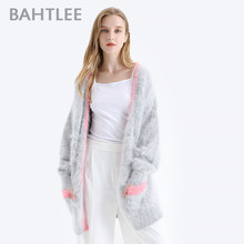 BAHTLEE Winter Women Knitted Cardigans Sweater With Pocket Wool Angora Coat Jumper Long Sleeves V-Neck Patchwork(China)