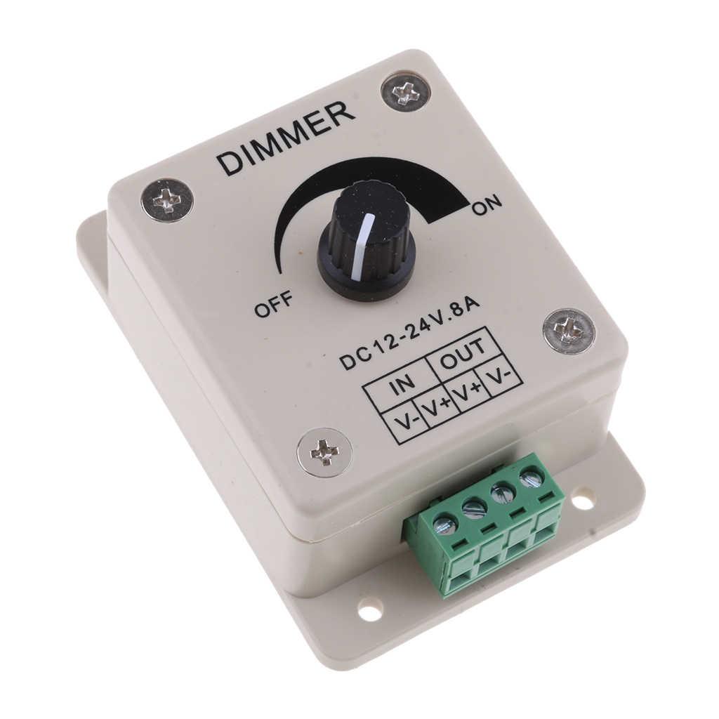 DC12V 8A pojedynczy kanał pokrętło ściemniacz PWM kontroler ściemniania dla łódź morska LED światła, wstążki światła, taśmy światła