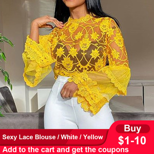 Sexy mesh yellow blouse See-Through flare sleeve african party club top shirts 2020 summer slim women pullover blouse shirts top(China)
