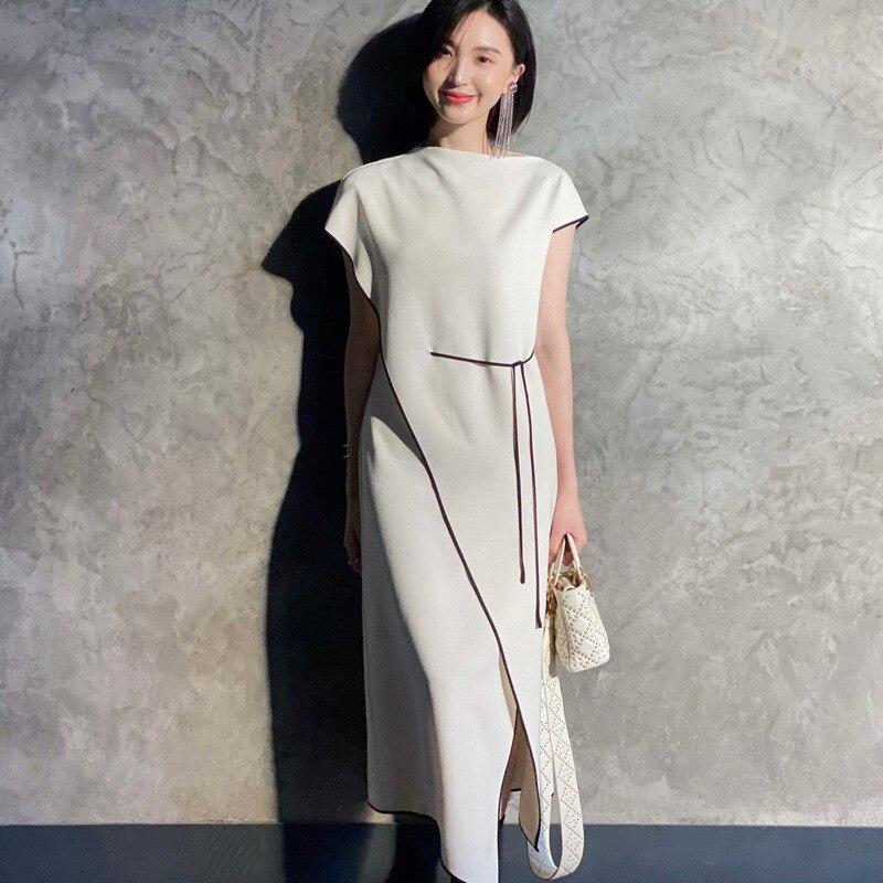 2021 сезон весна лето новый стиль знаменитостей Мода темперамент светильник со Ветер нерегулярные Сплит уксусной кислоты платье средней длины
