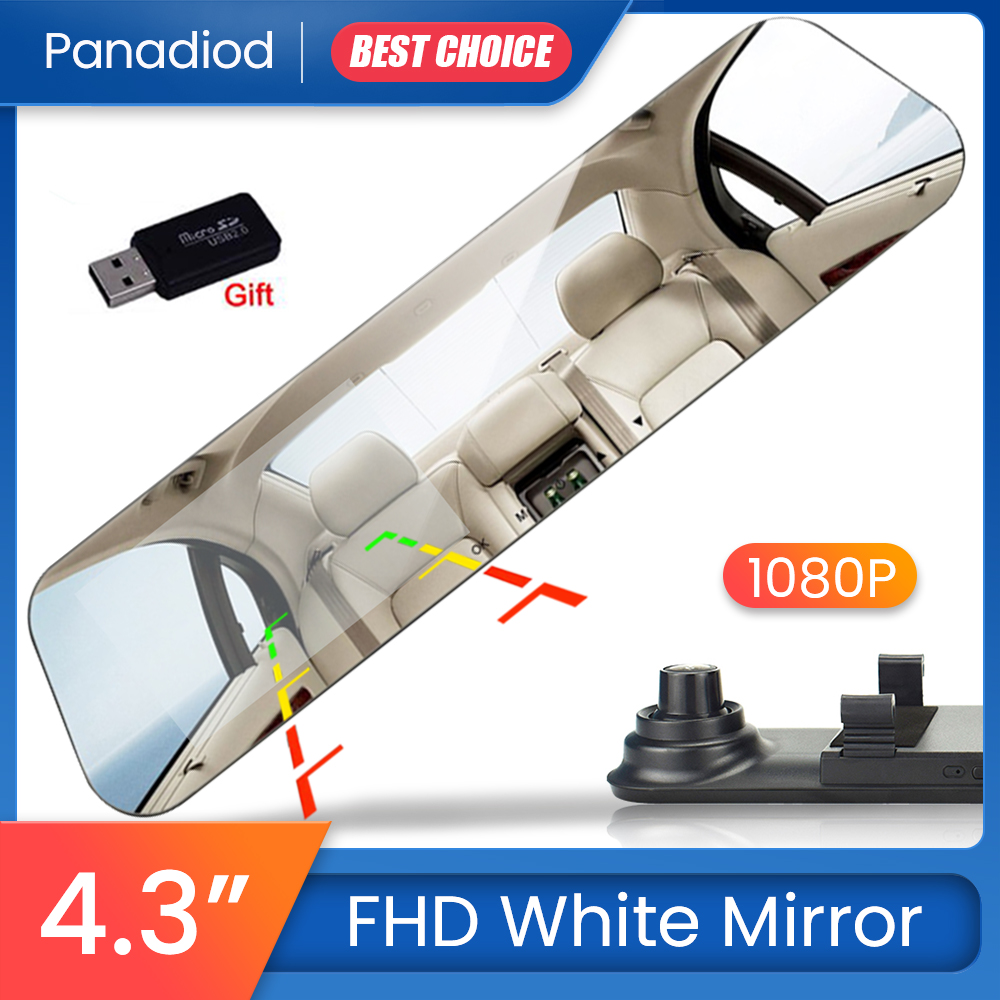 <font><b>Car</b></font> <font><b>Dvr</b></font> 4.3 <font><b>Inch</b></font> Dash Cam Video Recorder <font><b>Rearview</b></font> <font><b>Mirror</b></font> FHD 1080P Blue <font><b>Mirror</b></font> Dual Lens With Rear View <font><b>Camera</b></font> Auto Registrator image