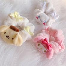 1 sztuk Cartoon Anime Pudding pluszowy pies pałąk elastyczna opaska do włosów gumka do włosów dziewczyny kobiety pluszowe zabawki na prezent J0429