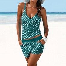 נקודות שתי חתיכה בגד ים פולקה הדפסת בגדי ים נשים מכנסיים Tankini לדחוף את בגד ים בתוספת גודל בגד ים גבוהה מותן וחוף