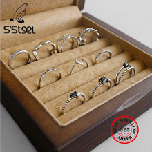 SSTEEL Real 925 Sterling Silver Rings For Women 4A Zircon Retro Ring Anillos De Plata 925 De Ley Mujer Anello Argento Jewellery