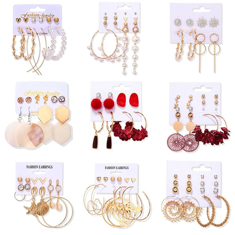 Women's Earrings Set Tassel Pearl Earrings For Women Bohemian Fashion Jewelry 2020 Geometric kolczyki Hoop Earings 3