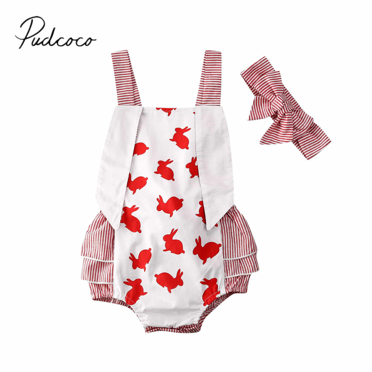 2020 Baby Summer Clothing Newborn Baby Girl Easter Bunny Long Ears Bodysuit Ruffled Striped Jumpsuit Headband Outfits 2PCS
