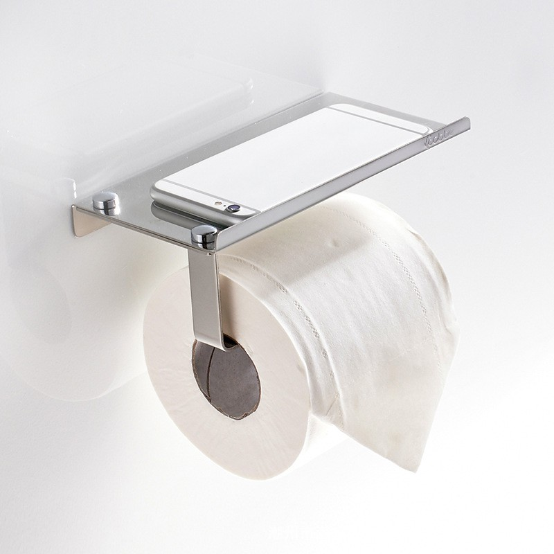 Household Toilet Paper Roll Holder Stainless Steel Wall Mounted Bathroom Tissue Storage With Phone Holder Shelf Safety Stand 1PC