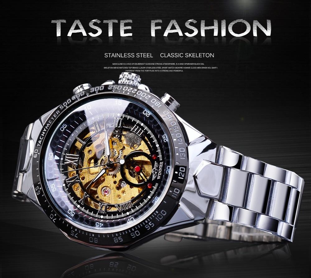 Hb2d23f3dd00742cdb4a03de7db947db7I Winner Classic Series Golden Movement Steel Mens Skeleton Man Wrist Watch Mechanical Top Brand Luxury Fashion Automatic Watches