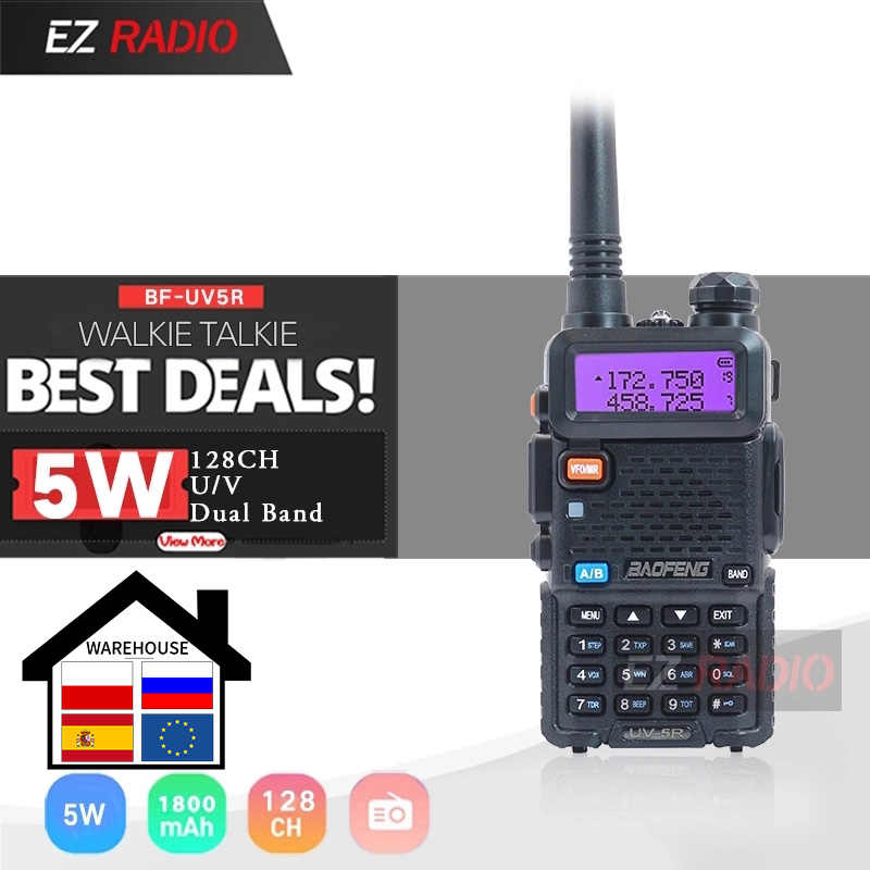 Originele Baofeng UV-5R Walkie Talkie Dual Display Dual Band Baofeng UV5R Draagbare 5W Uhf Vhf Twee Manier Radio Pofung uv 5R