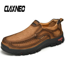 CLAXNEO Man Leather Shoes Slipons Autumn Mens Shoe Genuine leather Loafers Male Walking Footwear Big Size