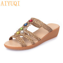 Summer Ladies flip flop 2020 New Wedge Women slippers Soft Large Size 41 42 43 Boho Casual Beach
