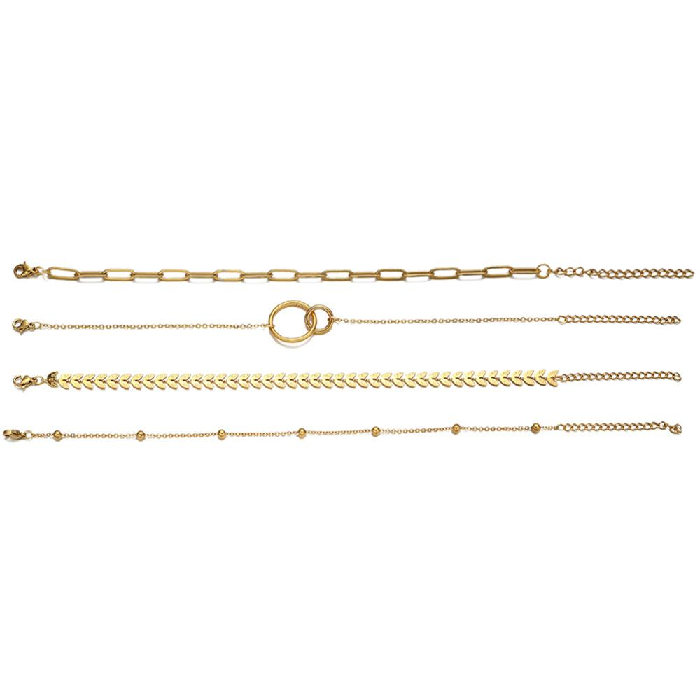 Многослойные квадратные цепочки из нержавеющей стали, очаровательные браслеты для женщин, стрела, круг, аксессуары, Винтажные Ювелирные Из...