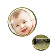 Handmade Personality Photo Brooch Family Photo Baby Child Dad Mom Brother Sister Grandparents Family Portrait pin Private Custom(China)
