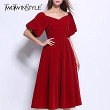 Deuxtwinstyle Vintage robe élégante pour les femmes Slash cou manches bouffantes taille haute a-ligne robes femme 2019 hiver mode nouveau