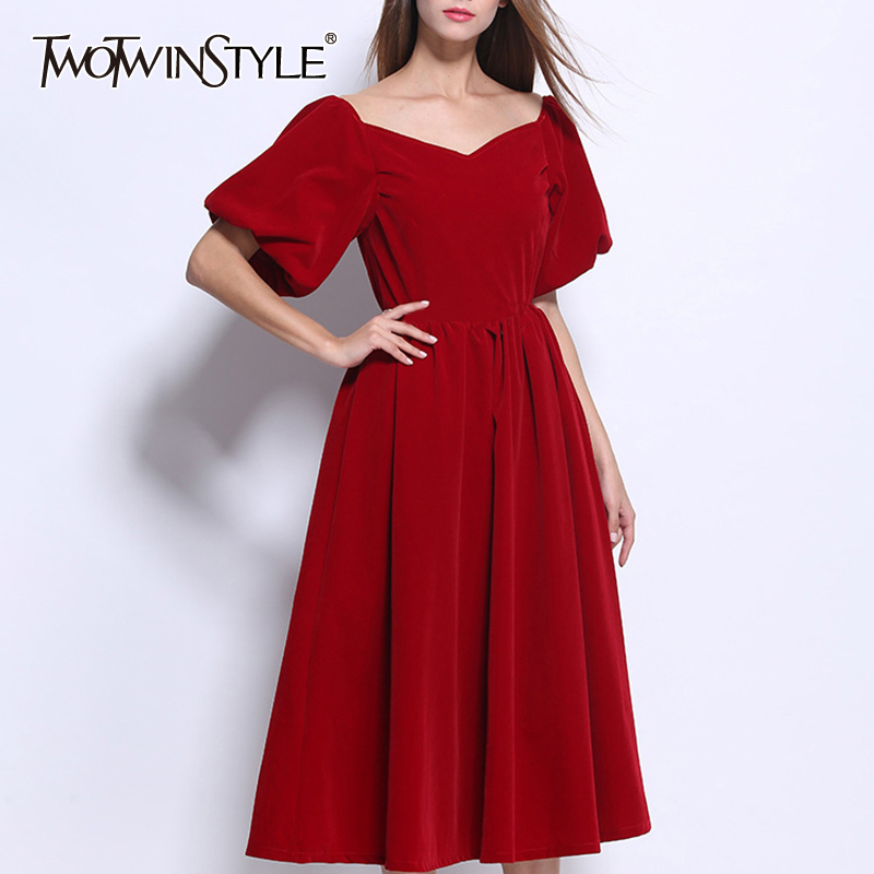 TWOTWINSTYLE Vintage Elegant Dress For Women Slash Neck Puff Sleeve High Waist A-line Dresses Female 2019 Winter Fashion New
