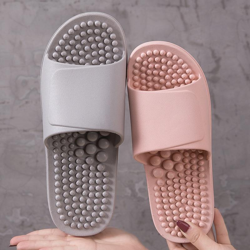 Массажные тапочки женская акупунктурная массаж ступней обувь для дома с мягкой подошвой для ванной Нескользящая Мужская износостойкая Массажная обувь|Тапочки|   | АлиЭкспресс