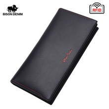 BISON DENIM Men Wallet Genuine Leather RFID Long Clutch Classic Business Large Capacity Card Holder Zipper Coin Purse N4384