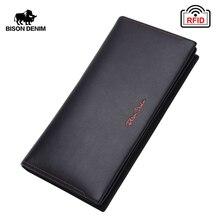 バイソンデニム男性財布本革rfidロングレンジクラッチクラシックビジネス大容量カードホルダージッパーコイン財布N4384