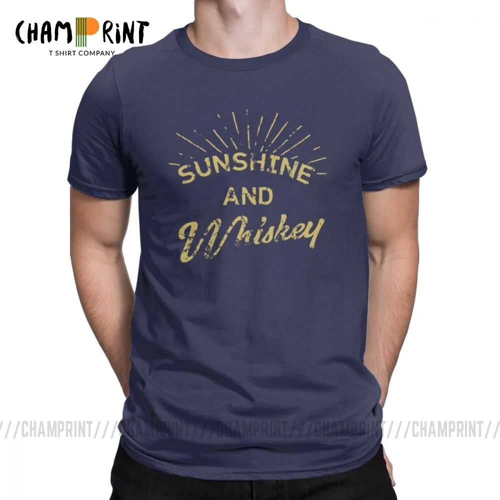 Men T Shirt Sunshine And Tennessee Whiskey Drinking Gift Casual Tops Single Malt Tees Crewneck Clothing Cotton Plus Size T-Shirt image