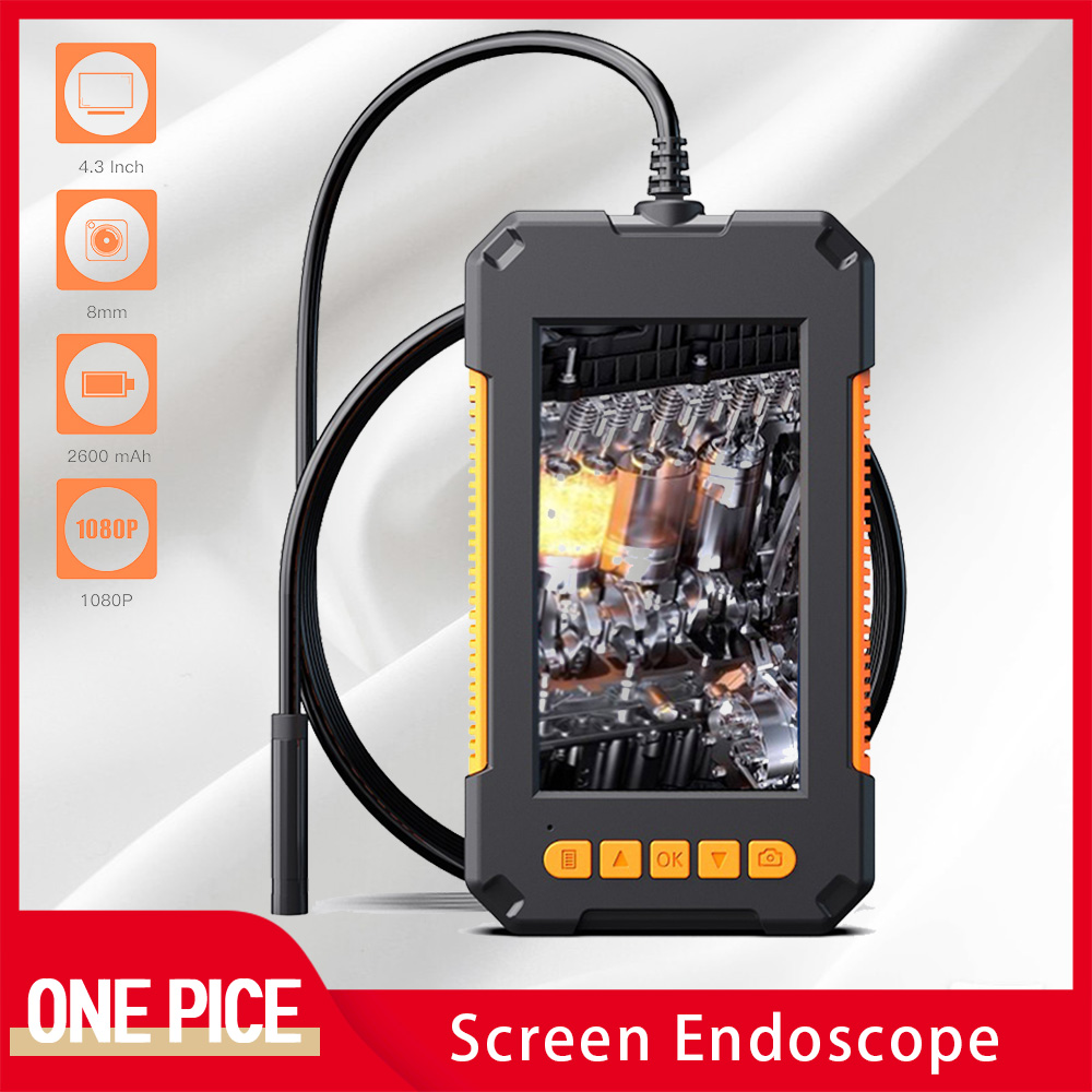 8 0 mm 4 3   Screen Endoscope 1080P HD IP67 Waterproof Integrated Industrial Borescope Handheld Hard Wire Snake Camera D3