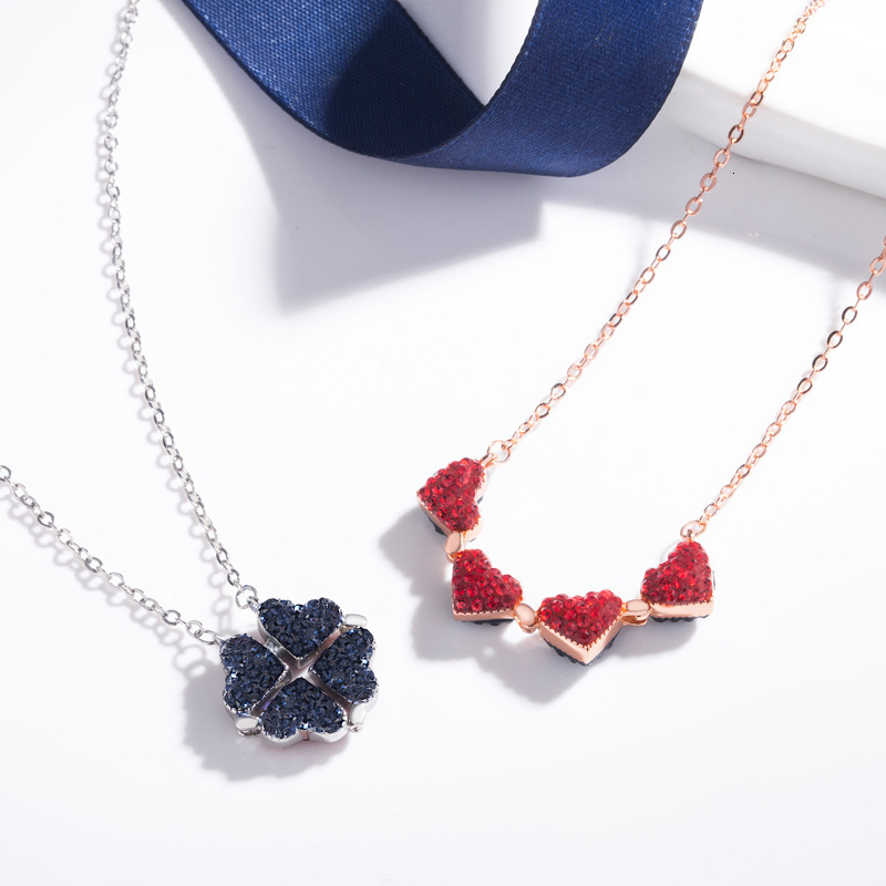 Dropshipping Fashion S925 Silver Necklace Creative Double Sided Four Leaf Clover Pendant Lucky Grass Clavicle Chain Necklaces(China)