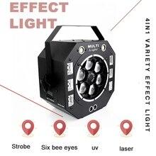 120W LED disko ışığı işın Strobe lazer UV 4IN1 sahne ışıkları DJ disko ses aktif lazer projektör etkisi ışık noel