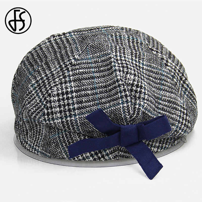 FS צרפתית אמן כומתה כובע לנשים נשי חורף אופנה שחור כחול חום משובץ צמר עבה כומתות צייר מתומן כובעים כובעים